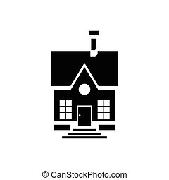 Cute countryside house icon, simple style
