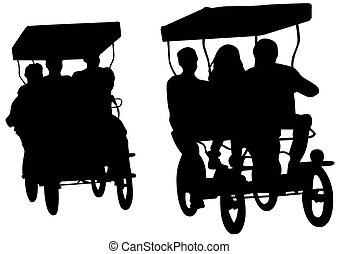 Rickshaw on white - Chinese rickshaw with people on a white...