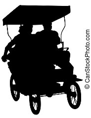 Rickshaw on white background - Chinese rickshaw with people...