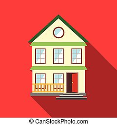 Lovely house icon, flat style - Lovely house icon in flat...