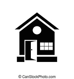 House with open door icon, simple style - House with open...