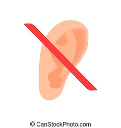 Deafness icon in cartoon style on a white background