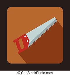 Wood saw icon, flat style - Wood saw icon in flat style with...