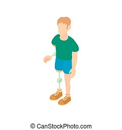 Man with prosthetic leg and arm icon cartoon style - Man...
