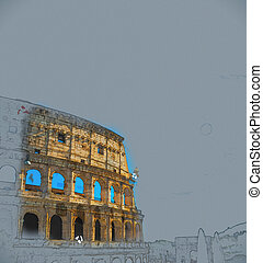 Colosseum, Rome - Colosseum Coliseum in Rome, Italy. Vintage...