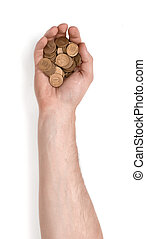 Close up view of mans hand holding rouble coins isolated on...