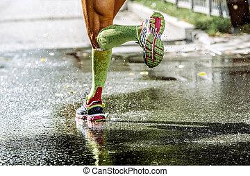 feet men runner compression socks, running through a puddle,...