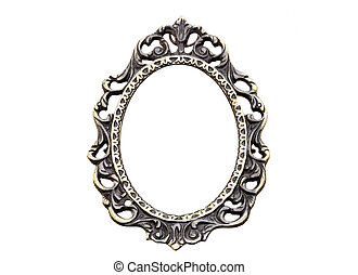 Vintage frame - Old picture frame isolated on white with...