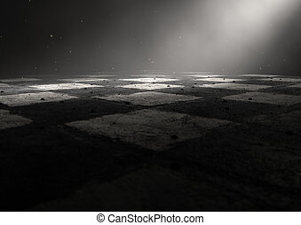 Chessboard Dark - A 3D render of a dirty chessboard spotlit...