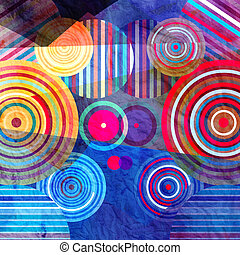 Watercolor abstract geometric background - Watercolor Retro...