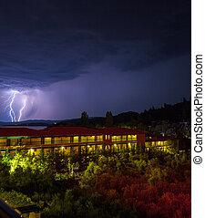 Lightning strike during night thunderstorm, Chalkidiki...