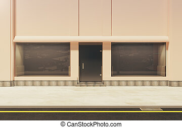 Front view of showcase - Front view of empty storefront in...