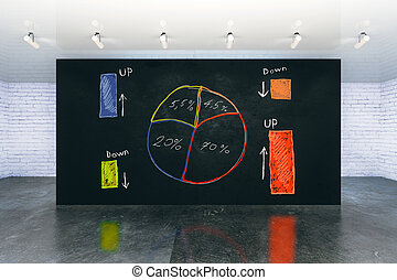 Business pie-chart on wall - Interior with busineee...