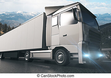 Grey truck sideview