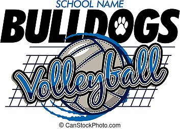 bulldogs volleyball team design with ball and net for...