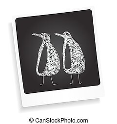 Doodle sketch of a penguin on a photograph background