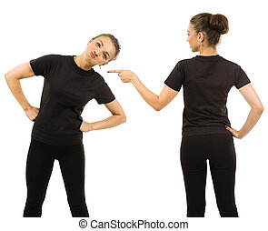 Funny woman wearing blank black shirt front and back
