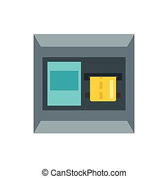 ATM machine icon, flat style - ATM machine icon in flat...