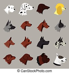 Dog icons set, flat style - Flat dog icons set. Universal...