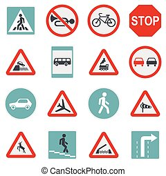 Road Sign Set icons, flat style - Flat road sign icons set...