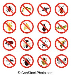 No insect sign icons set, flat style - Flat no insect sign...