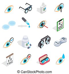 Optometry icons set, isometric 3d style