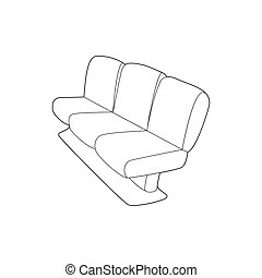 Seat on plane icon, outline style - Seat on plane icon in...