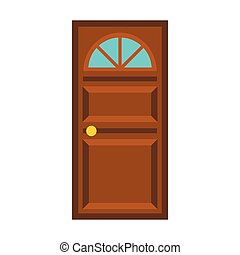 Wooden door with arched glass icon, flat style - Wooden door...