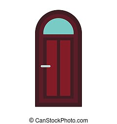 Arched wooden door icon, flat style