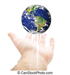 World In Your Hand - A hand being held out with the earth...