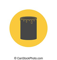 Paint can illustration on the yellow background. Vector...