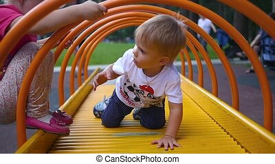 children play on the Playground - children play fun on the...