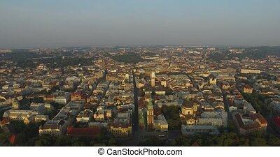 Aerial Old City Lviv, Ukraine. Central part of old city. European City. Densely populated areas of the city. Town hall. Lviv central