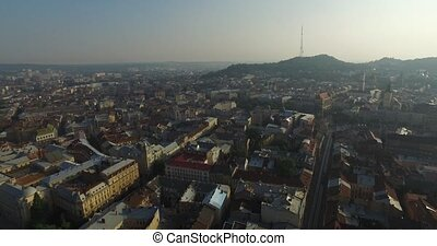 Aerial Old City Lviv, Ukraine. Central part of old city....