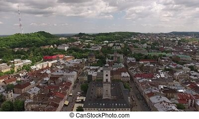 Lviv roofs and streets aerial view, Ukraine Dominican in...