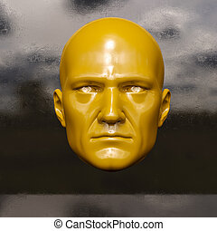 Male mannequin head - 3d render: poster with color plastic...