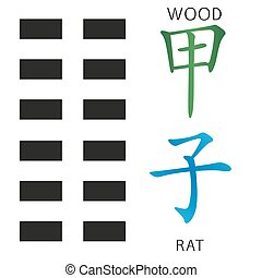 Symbol of i ching hexagram from chinese hieroglyphs....
