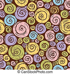 Funny pattern with spirals on a black background. - Vector...