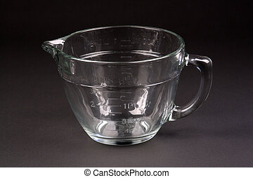 Clear Glass Measuring Cup - A large, clear glass measuring...