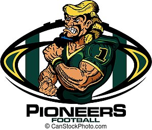 pioneers football - muscular pioneers football player team...
