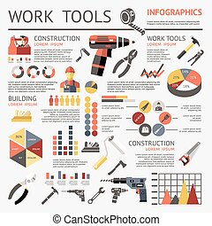Work Tools Infographic - Work tools colored infographic with...