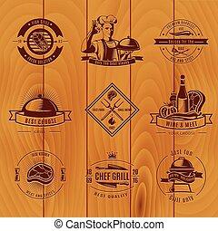 BBQ Vintage Logo Set