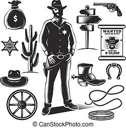 Sheriff Icon Set - Sheriff icon set with black isolated...