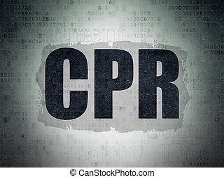 Medicine concept: CPR on Digital Data Paper background -...