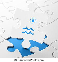 Tourism concept: Beach on puzzle background - Tourism...