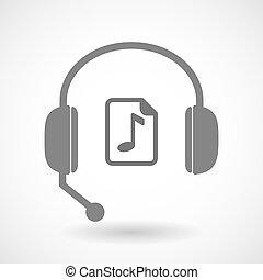 Isolated hands free headset icon with a music score icon -...