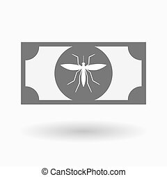 Isolated bank note icon with a mosquito - Illustration of an...