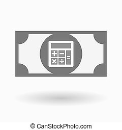 Isolated bank note icon with a calculator - Illustration of...