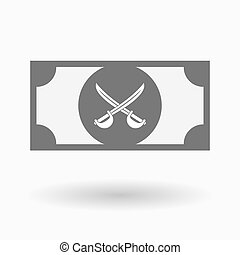 Isolated bank note icon with two swords crossed -...