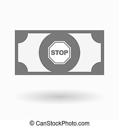 Isolated bank note icon with a stop signal - Illustration of...